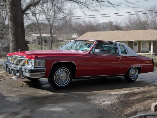 CADILLAC COUPE DE VILLE red