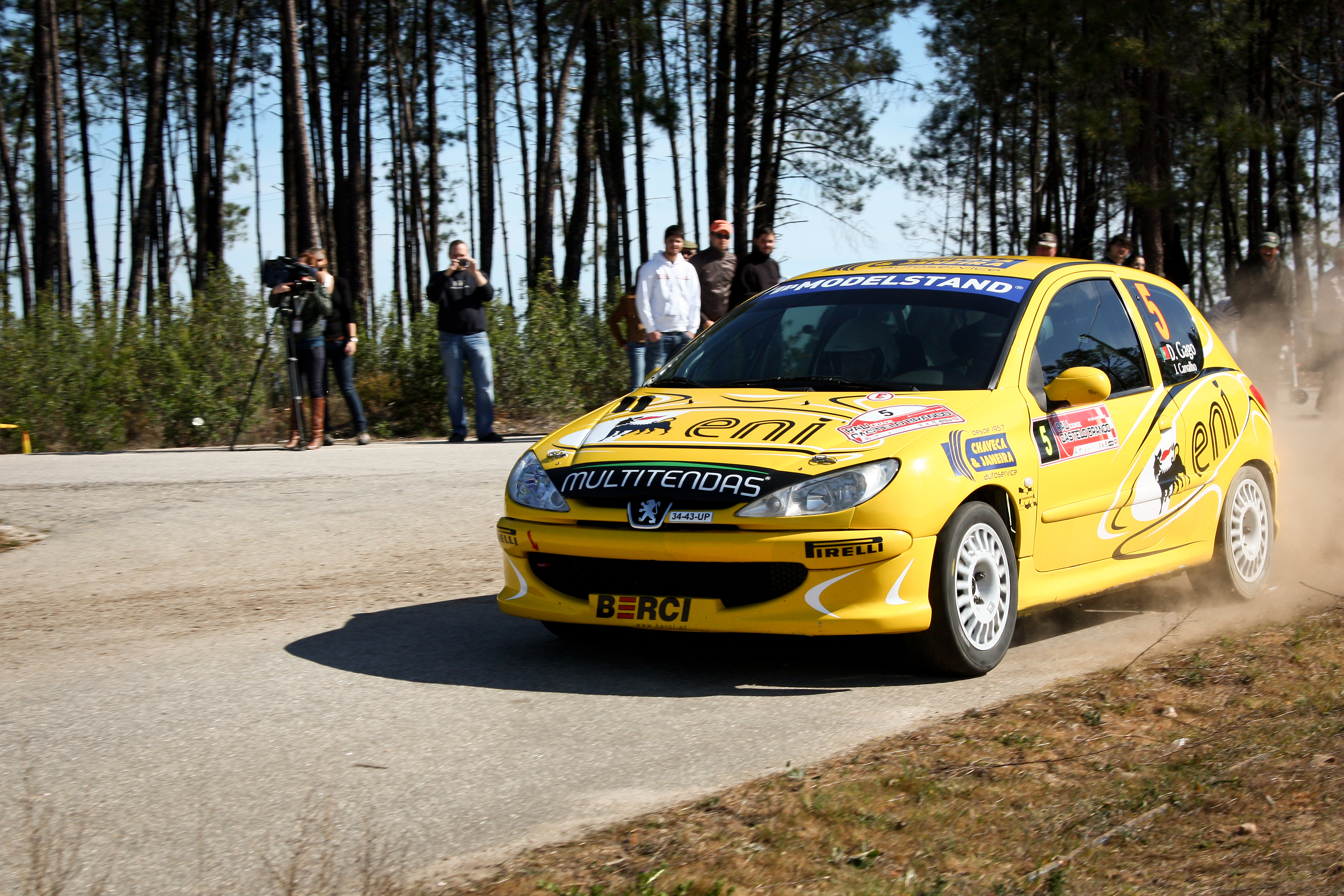 CASTELO BRANCO, PORTUGAL - MARCH 10: DIOGO GAGO DRIVES A PEUGEOT 206 GTI DURING RALLY CASTELO BRANCO BY COISAX