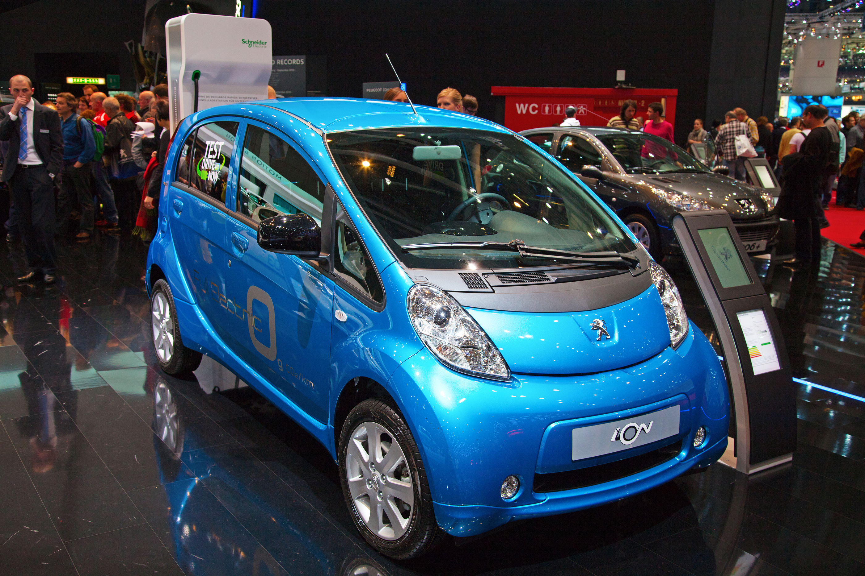 GENEVA - MARCH 8: THE FULLY ELECTRIC PEUGEOT ION WITH ZERO EMISSION ON THE 81ST INTERNATIONAL MOTOR SHOW PALEXPO-GENEVA ON MARCH 8; 2011  IN GENEVA, SWITZERLAND. BY SWISSHIPPO