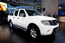 Moscow, Russia - August 25:  White Jeep Car Nissan Navara  On Display At Moscow International Exhibi by Rqs