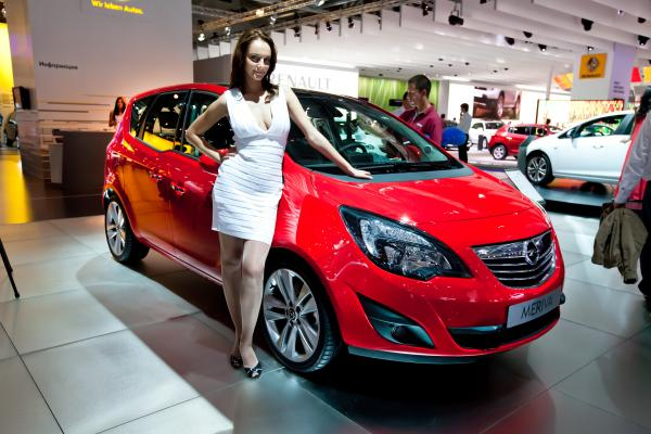 Moscow, Russia - August 25:  Red Car Opel Meriva At Moscow International Exhibition Interauto On Aug by Rqs