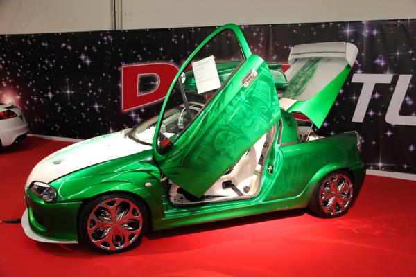 Essen, Germany - Nov 29: Opel Tigra With Gull-wing Doors From Dts Tuningstar Shown At The Essen Moto by p.lange